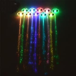 ilyever 10 Pack Light Up Fiber Optic Led Hair Lights - Multicolor Flashing Barettes - Party Supplies Alternating Multicolor Hair Barrette Clip Braid - Party Supplies