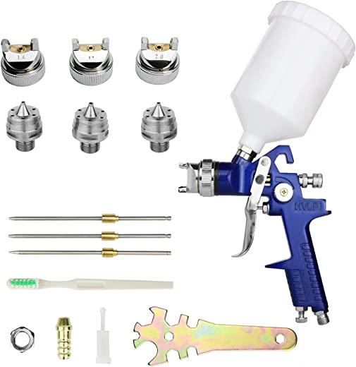 Hotorda HVLP Spray Gun with 3 Nozzles 1.4mm 1.7mm 2.0mm Air Paint Gun Kits with 600cc Cup for Car Primer, Surface Painting, Coatings, Automotive Paint, Painting Projects