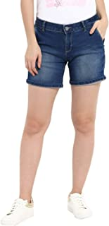 KVL Womens Cotton & Polyester Woven Solid Denim Chino Shorts - Blue