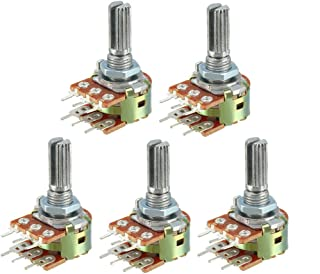 uxcell® WH148 100K Ohm Variable Resistors Dual Rotary Carbon Film Taper Potentiometer 5pcs