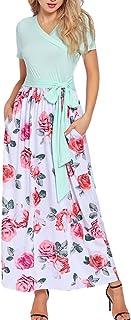 Eternatastic Womens V Neck Maxi Long Dress Short Sleeve Floral Print with Belts