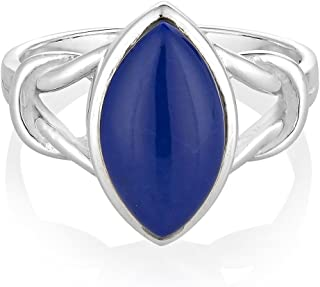 925 Sterling Silver Blue Lapis Lazuli Gemstone Marquise Shape Band Ring Jewelry Size 6, 7, 8
