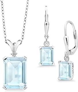 925 Sterling Silver Sky Blue Topaz Pendant Earrings Set, 13.37 Cttw Emerald Cut, Gemstone Birthstone with 18 Inch Silver Chain
