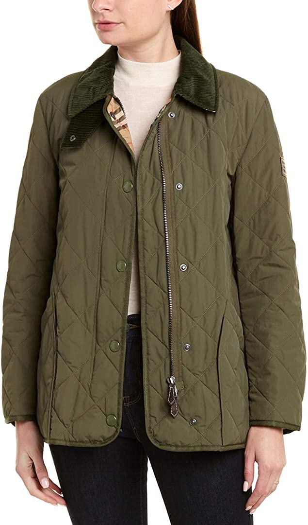 BURBERRY Cotswold Check Trim Thermoregulated Diamond Quilted Jacket in Green