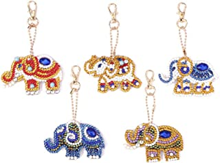 DIY Diamond Painting Keychains, Special Shaped Elephant Diamond Painting Ornaments Pendants, Small Diamond Art for Kids and Adult Beginners (5pcs)