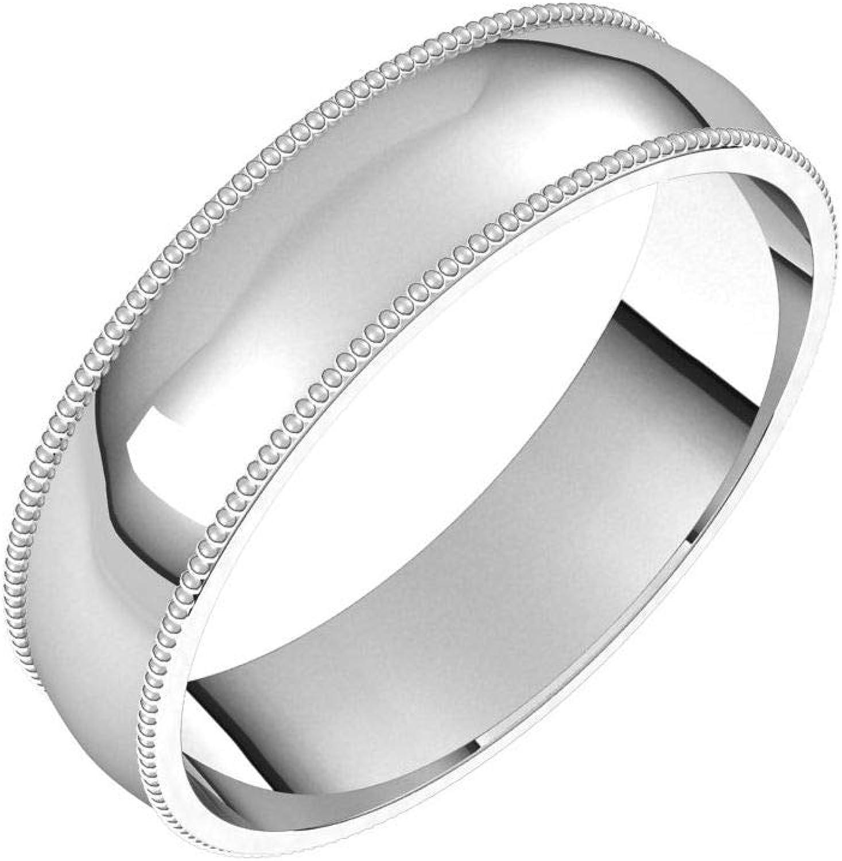 Max 46% OFF Diamond2Deal 14K White 5 mm Milgrain Comfort Fit Half Round Los Angeles Mall Wedd