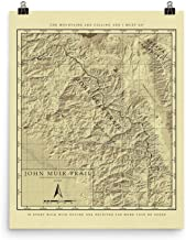 John Muir Trail Vintage Style Map Poster Print