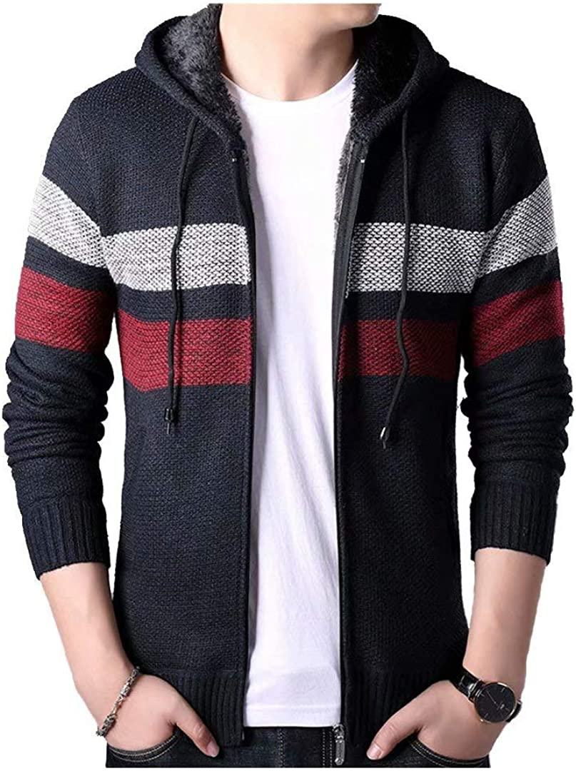 Knitted Hooded Cardigan Sweater Casual Slim Full Zipper Thickening Men