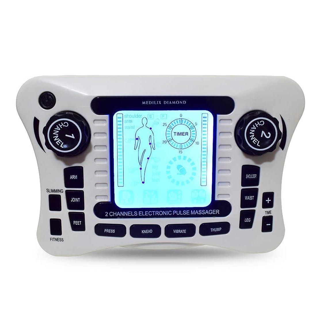 TENSマッサージャー、多機能ポータブル低周波理学療法器具、肩、腰、関節、手、足、脚の2チャンネルパルス鍼治療