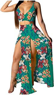 HebeTop Women Sexy Chiffon Strap Deep V Neck 2 Piece Outfits Dress Floral Printed Crop Top High Split Maxi Dresses Skirt Set
