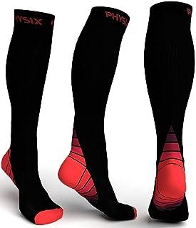 Physix Gearコンプレッションソックス男性用/女性用(20?30 mmHg)最高の段階的なフィット ランニング、看護、過労性脛部痛、フライトトラベル&マタニティ妊娠 – スタミナ、循環&回復 (BLACK & RED L-XL)