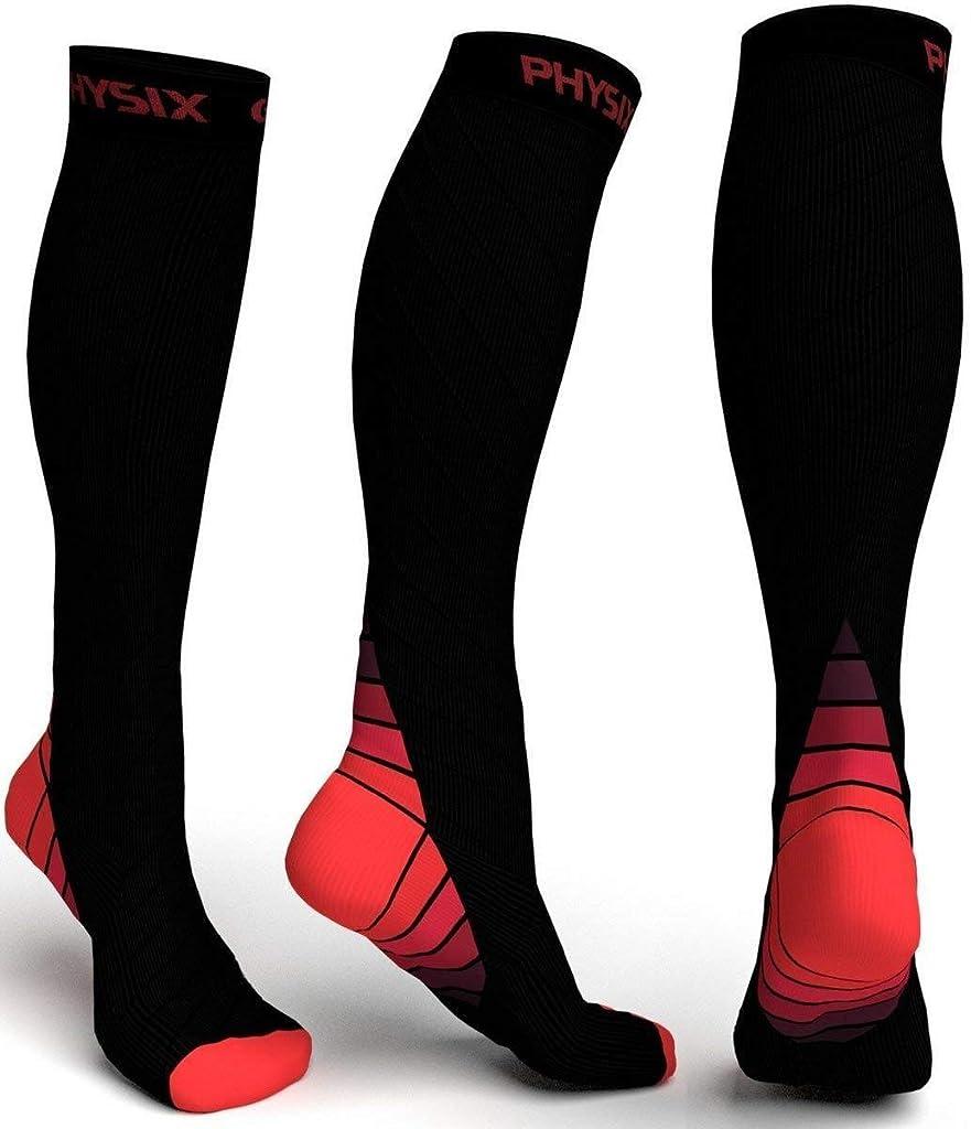 カセットまさに引退するPhysix Gearコンプレッションソックス男性用/女性用(20?30 mmHg)最高の段階的なフィット ランニング、看護、過労性脛部痛、フライトトラベル&マタニティ妊娠 – スタミナ、循環&回復 (BLACK & RED S-M)
