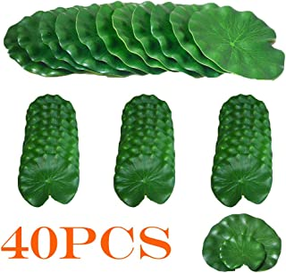 hilingo Artificial Lily Pad Floating Foam Lotus Leaves Foliage Pond Decor Pack of 40