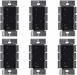 Lutron Caseta Wireless Smart Lighting Dimmer Switch for Wall & Ceiling Lights, PD-6WCL-BL, Black, Compatible with Alexa, Apple HomeKit, and the Google Assistant (6 pack) (black)