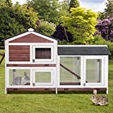 Purlove Pet Rabbit Hutch Wooden House Chicken Coop for...