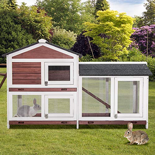 PURLOVE Pet Rabbit Hutch Wooden Bunny Cage Small Animals House for Outdoor/Indoor Use (Auburn+White)