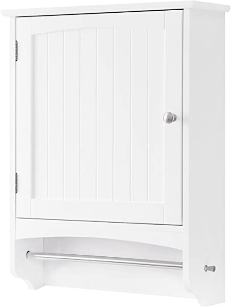 VASAGLE Wall Cabinet Hanging Bathroom Storage Cabinet With Rod And Adjustable Shelf Medicine Cabinet Wooden White 18 9 X 6 3 X 25 6 Inches UBBC22WT