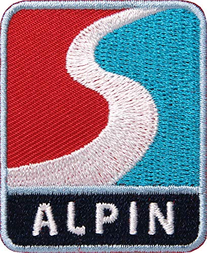 2 x Wintersport Alpin Patch gestickt 42 x 52 mm / Ski Skitour Snowboard Berge Alpen Winter Schnee / Patches zum Aufnähen Aufbügeln auf Jacke Kleidung Mütze / Aufnäher Aufbügler Flicken Bügelflicken