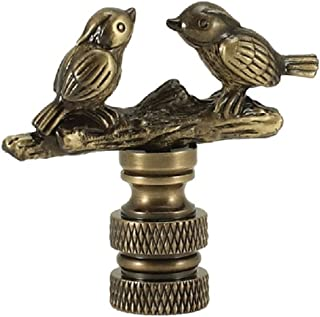 Antique Metal Finish Song Birds on a Branch Lamp Finial - 1.5 Inches High