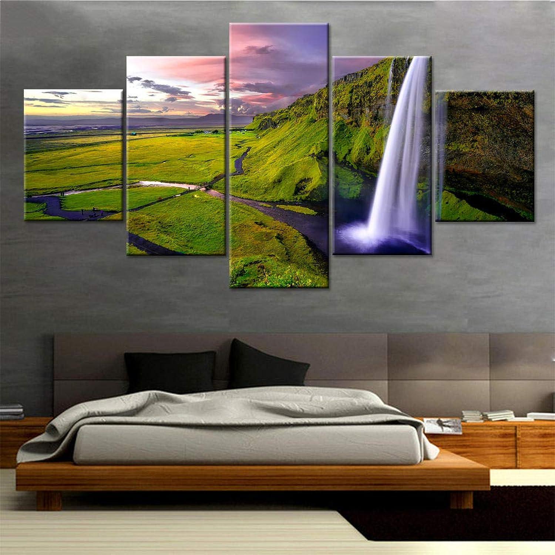 echa un vistazo a los más baratos Sala de estar Decoración de parojo Arte Arte Arte moderno Marco Imagen Cartel modular Cascada durante el atardecer Paisaje Pintura Ilustraciones HD Impresiones Lienzo-20x35 20x45 20x55  nueva marca