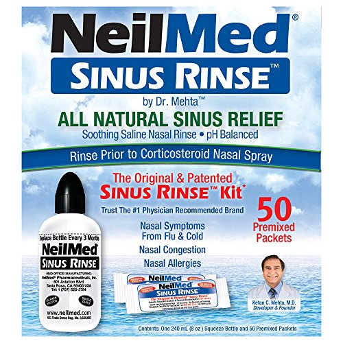 NeilMed Sinus Rinse - A Complete Sinus Nasal Rinse Kit, 50 packets