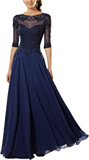 Women's Lace Applique Beaded Mother of The Bride Dress Half Sleeve Chiffon Evening Formal Party Dress