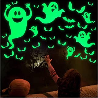 OCATO 35Pcs Halloween Decorations Halloween Window Cling Decals Halloween Wall Decals Stickers Glow in The Dark Luminous Bats Ghost Peeping Eyes Decals Wall Décor for Halloween Party Decorations
