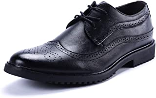 Brogue Carving Oxfords For Men Dress Shoes Lace Up PU Leather Pointed Toe Wingtip Bright Style Unanimous Color Lug Sole Block Heel casual shoes (Color : Red, Size : 44 EU)