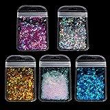 Losping 5 colores letras holográficas del alfabeto grueso purpurina resina epoxi lentejuelas 2 g por