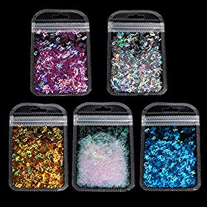 ZJL220 5 Colors Alphabet Holographic Laser- Letters Chunky Glitter Epoxy Resin Festival Chunky Letters Mixed Sequins 2g Per