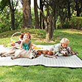 Lamivia Picnic Blankets Waterproof Sandproof, 80''x80'' Extra Large Machine Washable Foldable Beach Blanket, Oversized XL Outdoor Mat for Camping, Park, Grass (Green and White)