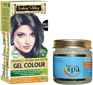 Indus Valley Organically Natural Gel Black Herbal Hair Colour with Deep Nourishing Hair Eaze Spa 175ml For Hair Care