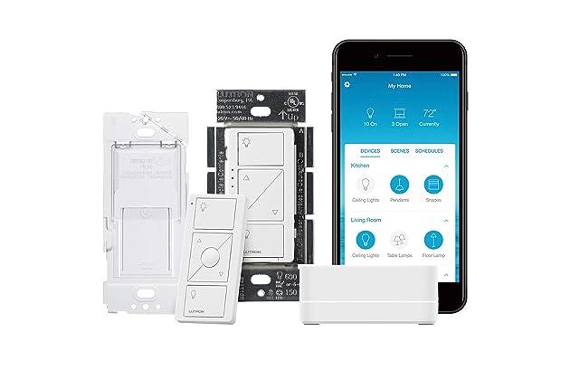 Lutron Caseta Wireless Smart Lighting Single Pole/3-way Dimmer Switch Starter Kit, P-BDG-PKG1W-A, Works with Alexa, Apple HomeKit, and the Google Assistant