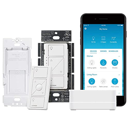 Lutron Caseta Wireless Smart Lighting Single Pole/3-way Dimmer Switch Starter Kit,