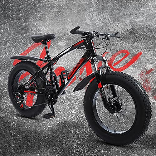 WLWLEO Bicicleta de montaña de 20 Pulgadas Bicicleta de Nieve de neumático Gordo,21/24/27 Velocidad,Bicicleta Campo a través al Aire Libre para Adolescentes Estudiantes Adultos,Rojo,21 Speed