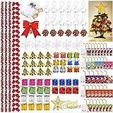 Queta 139 Stück Weihnachtsschmuck, Weihnachtsschmuck Baum, Weihnachtsbaumschmuck Blume, für Weihnachtsdeko Rot Weihnachtsbaum Schleifen Deko,13 Stile