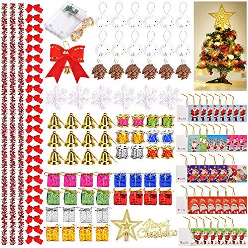 Queta 139 Piezas Adornos de árbol Navidad, Colgantes Adornos del Árbol De Navidad, Caja de Regalo Colgantes/Campanas/Piñas/Nudos/Tarjetas/Luz de Cuerda/Bolas, etc.