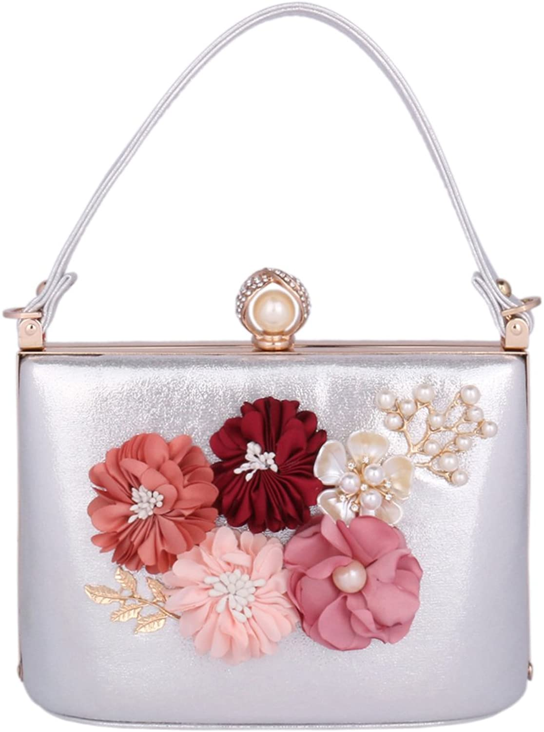 Damara Women's Beaded Satin Flower Handbag Hardcase Bridal Party Evening Bag