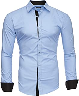 Hombre Camisa Manga Larga Slim Fit S-6XL - Modello Twoface + London