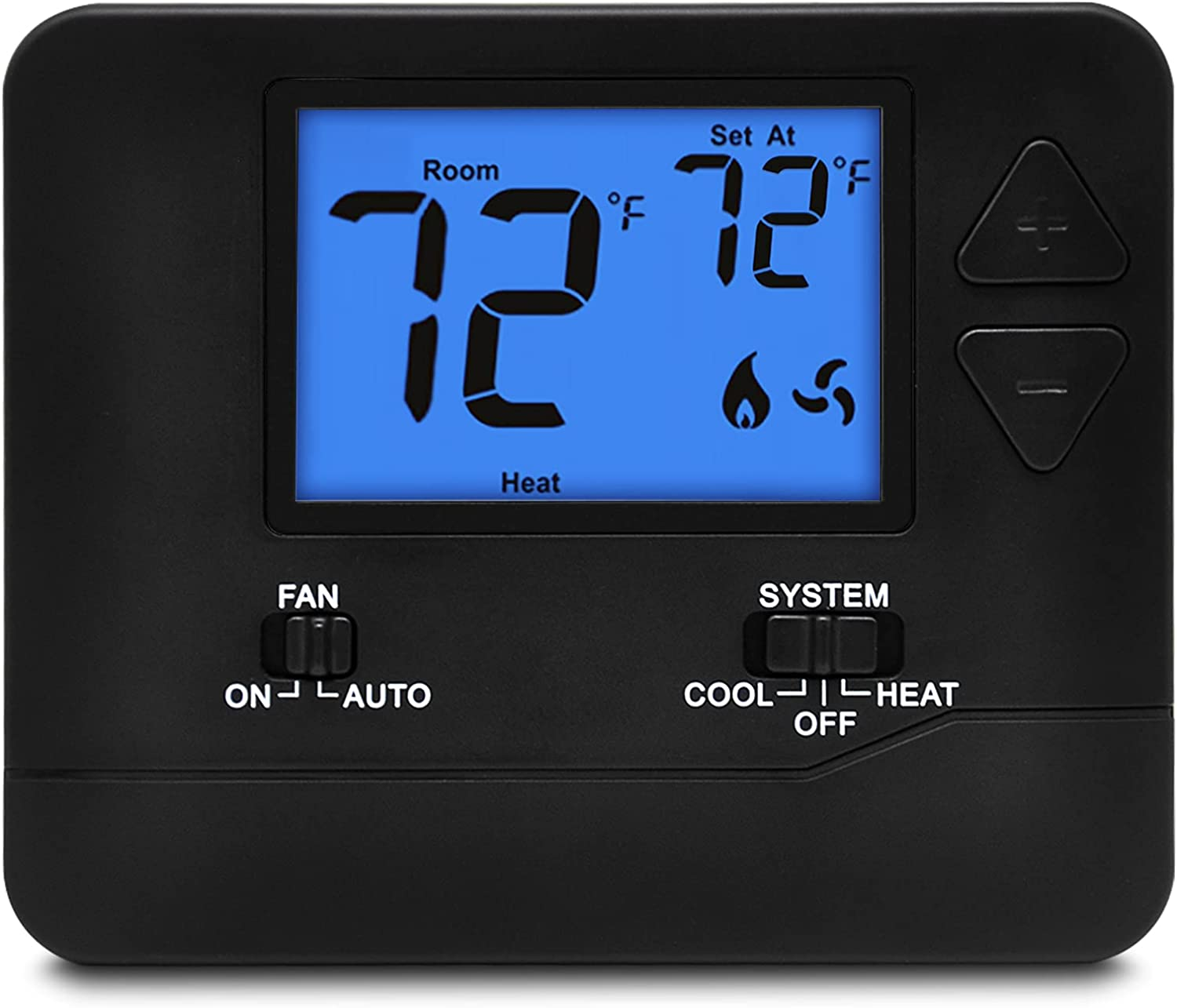 ELECTECK Digital Thermostat with Large LCD Display, Non-Programmable, Compatible with Single Stage Electrical and Gas/Oil System, Up to 1 Heat/1 Cool, Black