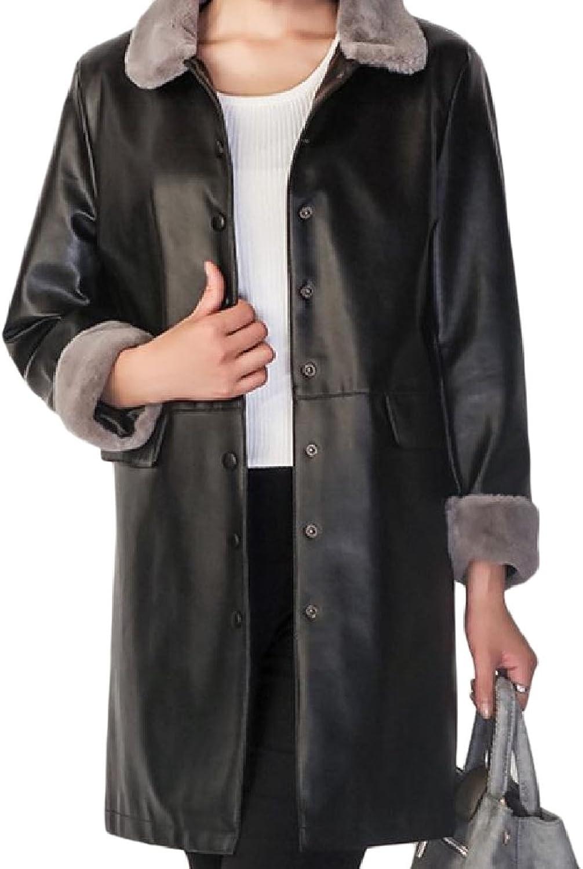 SportsX Women Mid Length Pockets Lapel Splicing Outdoor Coats PU Jakcet
