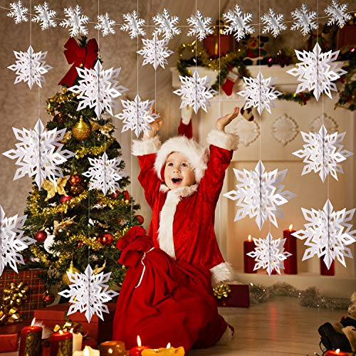 DIYASY 3D Hanging Snowflake Decorations,12Pcs Snowflakes Garland and 12 Pcs White Large Snowflake with String for Christmas Winter Wonderland Party and Ceiling Decoration