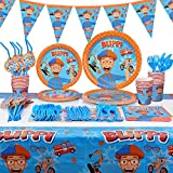 131pcs For Blippi Party Supplies Kit - Blippi Party Favors Birthday Party Decoration Table Cover Plates Cups Napkins Straws Utensils