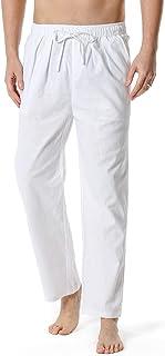 LucMatton Men's Lightweight Linen Yoga Pants Casual Elastic Waist Drawstring Beach Trousers