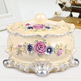 European Jewelry Box Creative Jewelry Box Round Cosmetic Storage Box Simple Fashion Resin Storage Box Earrings Necklace Storage Case Holder for Women Girls,Beige
