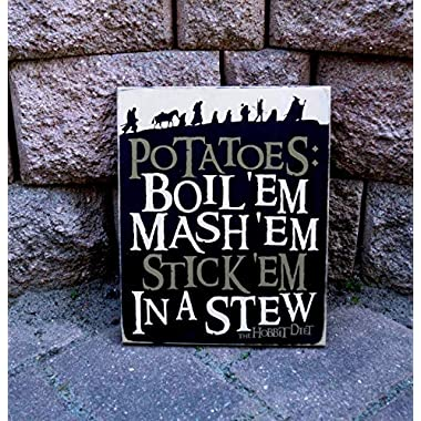 Olga212Patrick Magic Store Sign Hobbit Diet Potatoes LOTR Movie Quote Home Theater Sign Wood Sign