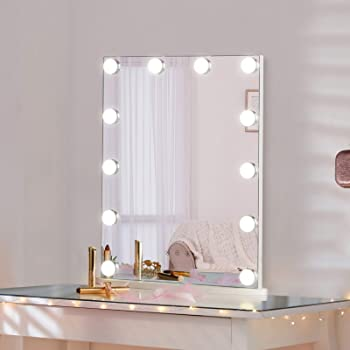 LUXFURNI Vanity Mirror with Makeup Lights, Large Hollywood Light up Mirrors w/ 12 LED Bulbs for Bedroom Talbetop, White