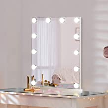 LUXFURNI Vanity Tabletop Makeup Mirror w/USB-powered Dimmable Light, Touch Control, 12 Day/Warm LED Light (White)