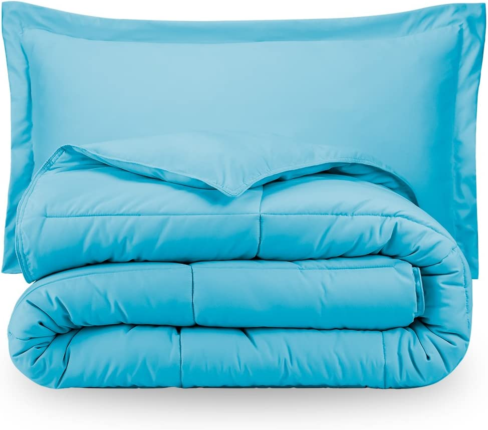 Ivy Union Twin Solid Comforter & Sham Set - Aqua Blue