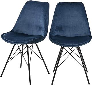 Selsey Sapodilla - Juego de Dos sillas/para el Comedor - Azul Marino - Tela de Terciopelo – Moderno